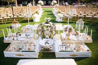 white-and-gold-mirror-glamorous-sofreh-aghd-table-persian-wedding-ceremony-outdoor-lawn-hotel-venue