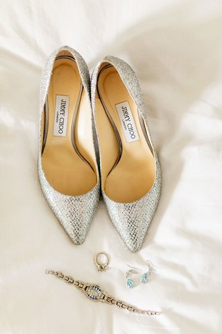wedding-day-jewelry-bracelet-earrings-engagement-ring-silver-metallic-jimmy-choo-pumps-pointed-toe