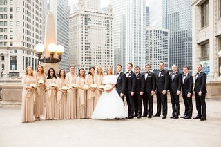 bridesmaids-in-metallic-adrianne-papelle-bride-in-monique-lhuillier-ball-gown-groom-in-hugo-boss