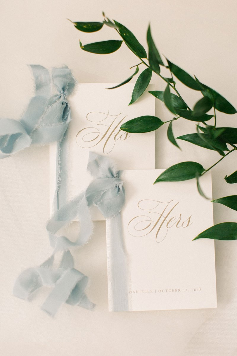 Vow Books with Misty Blue Ribbon