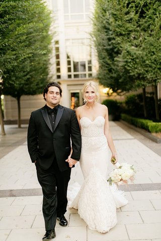 bride-in-inbal-dror-mermaid-wedding-dress-groom-in-all-black-tuxedo-black-dress-shirt
