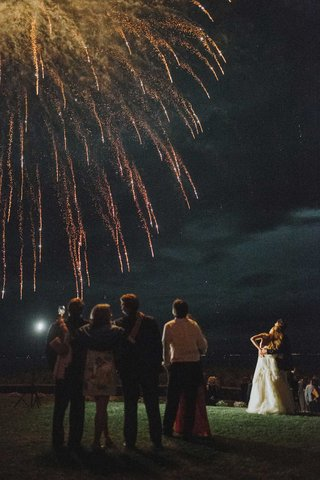 wedding-reception-private-home-bride-groom-and-wedding-guests-watching-fireworks