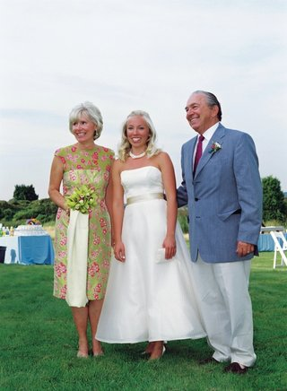 bride-in-tea-length-wedding-dress-with-preppy-mother-of-bride-dress