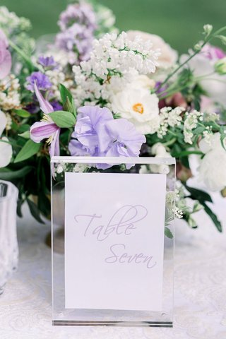 wedding-reception-table-number-light-purple-modern-calligraphy-on-card-in-lucite-acrylic-stand-frame