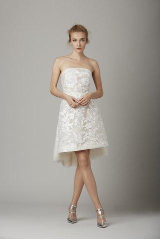 strapless-flower-pattern-short-wedding-dress-by-lela-rose