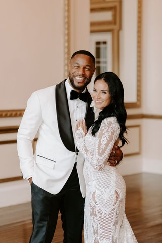 r-b-singer-tank-beauty-influencer-zena-foster-wedding-white-tuxedo-lace-wedding-dress