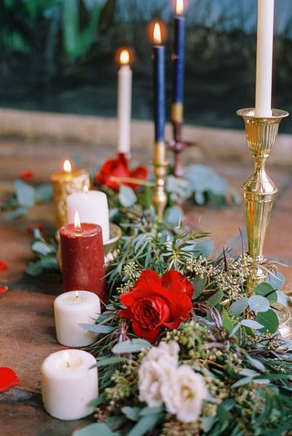 beauty-beast-movie-styled-wedding-shoot-candles-flora-runner-aisle-ceremony-romantic-fairy-tale