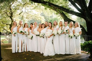 bride-in-lace-vera-wang-bridesmaids-in-white-lela-rose-dresses
