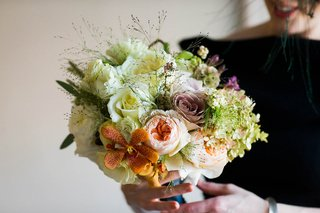 bridal-bouquet-of-white-roses-lisianthus-orange-mokara-orchids-garden-roses-green-hydrangeas