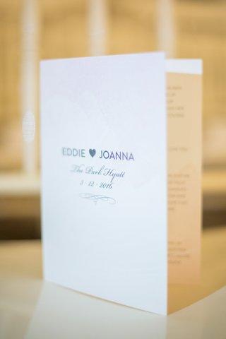 front-cover-ceremony-program-nyc-wedding-eddie-manheimer-joanna-carver-park-hyatt-hotel-paper-good