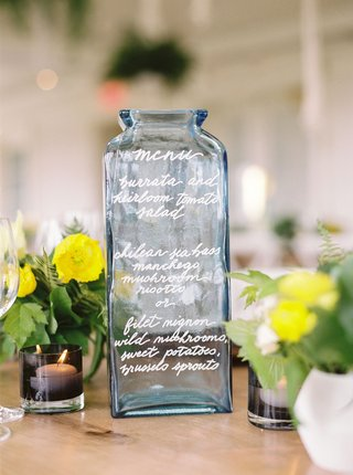 wedding-reception-alternative-menu-idea-blue-vase-vessel-bottle-calligraphy-selections
