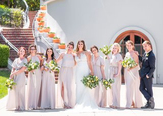 wedding-party-bridesmaids-n-mismatch-dresses-light-taupe-champagne-color-bridesman-in-suit-bow-tie