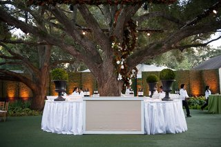at-home-wedding-cocktail-hour-with-bar-circled-around-tree-on-lawn
