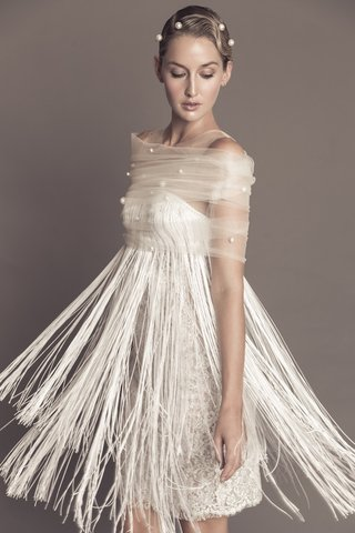 francesca-miranda-fall-2016-luisa-fringe-short-wedding-dress-with-pearl-shawl