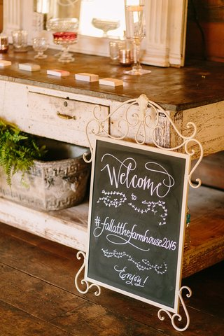 blackboard-welcome-sign-fall-at-the-farmhouse-2015-faux-wedding-party-styled-shoot-rustic-hashtag