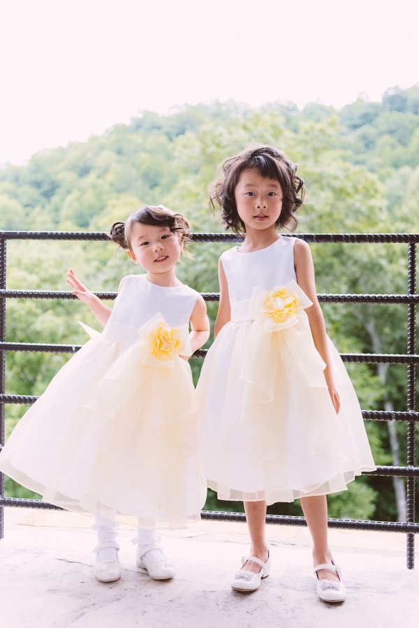 White-and-Yellow Flower Girl Dresses