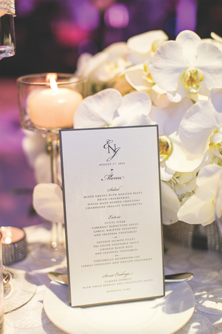 white-dinner-menu-with-monogram-and-silver-border