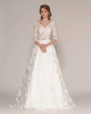 eugenia-couture-fall-2016-three-quarter-sleeve-lace-a-line-v-neck-wedding-dress