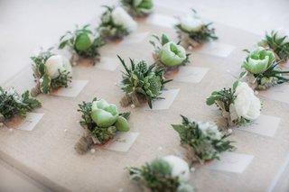 wedding-boutonniere-white-green-flowers-greenery-tan-velvet-ribbon