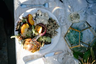 wedding-salad-with-peaches-artichokes-onions-rice-local-produce-to-central-california