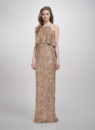 theia-bridesmaids-spring-2018-sheath-bridesmaid-gown-sequin-halter-neck-loose-bodice-rose-gold