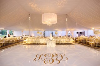 tent-wedding-with-gold-monogram-on-white-dance-floor