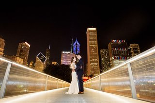 wedding-portrait-night-photo-bride-and-groom-on-bridge-in-chicago-illinois