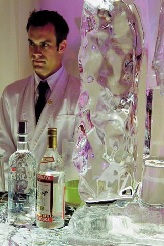 bartender-next-to-bar-ice-sculpture-for-wedding-reception