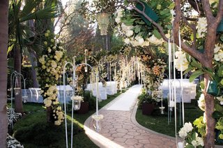 outdoor-garden-wedding-with-flower-arches-and-trees