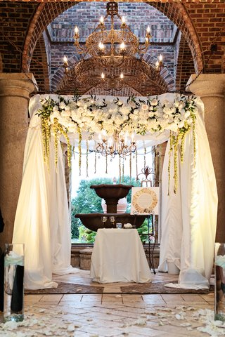 jewish-wedding-ceremony-with-chuppah-covered-with-ivory-fabric-decorated-with-white-flowers