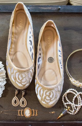 gold-and-white-wedding-shoe-flats-with-rhinestones