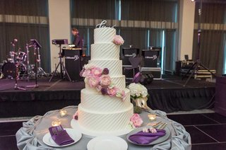 wedding-cake-with-love-calligraphy-topper-diagonal-stripe-frosting-pink-peony-garden-rose-flowers