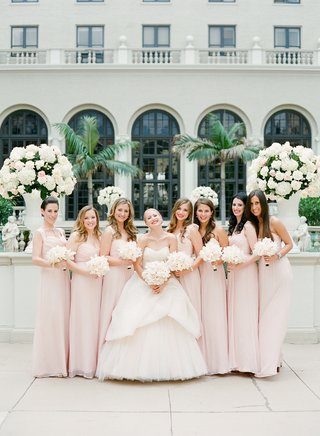 bride-with-bridesmaids-in-floor-length-gowns