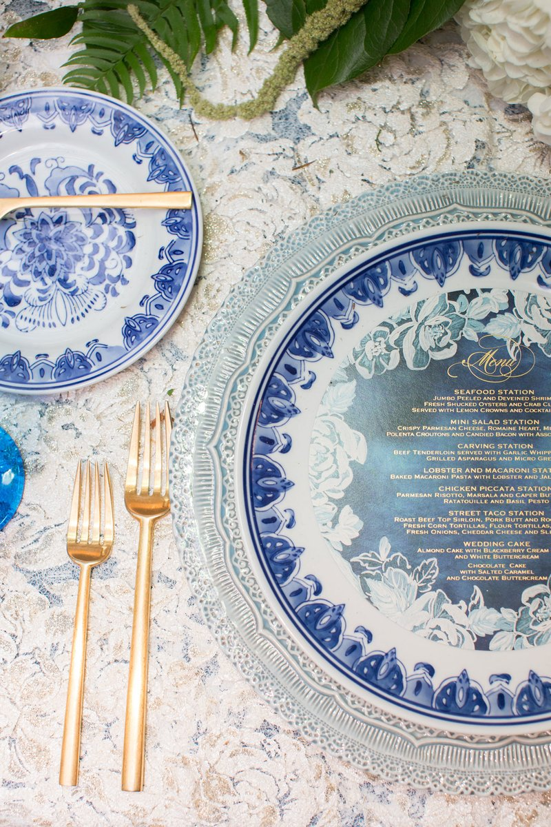 Blue & White China and Gold Flatware