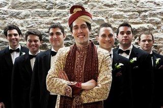 groom-in-hindu-wedding-attire-and-groomsmen-in-tuxedos