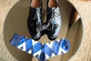 black-dress-shoes-for-groom-black-bow-tie-blue-argyle-socks