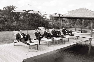 black-and-white-photo-of-groom-and-groomsmen-in-turks-caicos