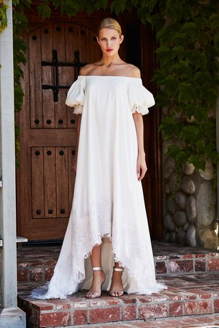 tadashi-shoji-fall-2018-crepe-off-the-shoulder-balloon-sleeve-high-low-gown-with-head-beaded-pearls