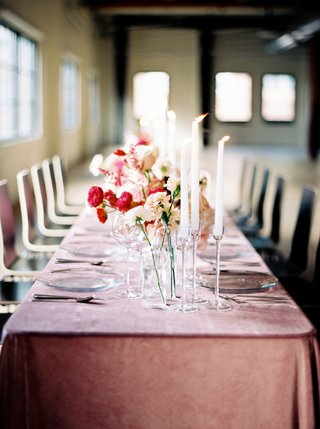 wedding-reception-blush-table-linens-velvet-tall-candles-on-clear-crystal-stands-and-pink-red-flower