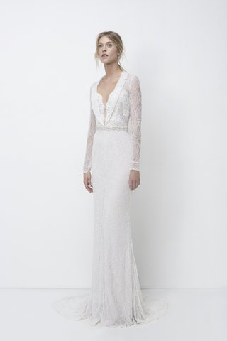 lihi-hod-fall-2018-beaded-lace-long-sleeves-fitted-collar-dress-floral-lace-silver-beads