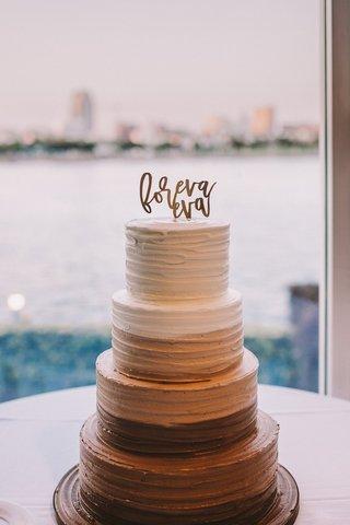 chocolate-ombre-wedding-cake-foreva-eva-cake-topper
