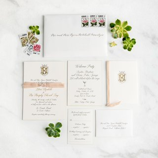 white-wedding-invitation-with-calligraphy-gold-monogram-pretty-stamps-calligraphy-pink-velvet-ribbon
