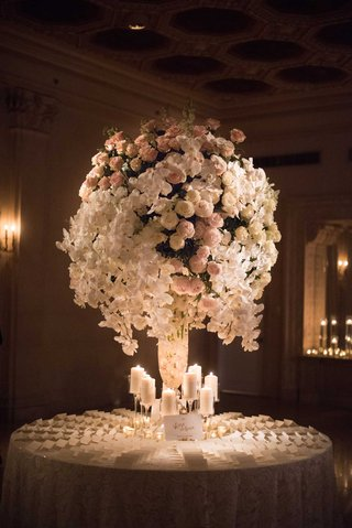 wedding-reception-round-table-escort-cards-candles-tall-centerpiece-pink-peony-white-orchid