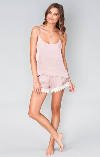 pink-satin-slip-top-and-shorts-with-lace-edges