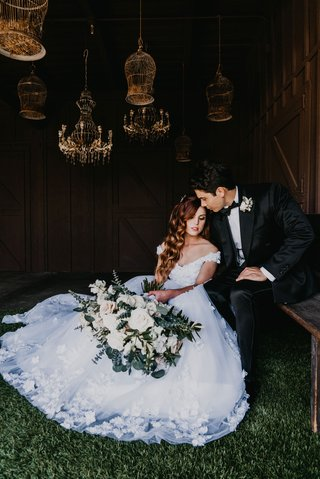 echosmith-singer-sydney-sierota-and-cameron-quiseng-wedding-portrait-bride-in-off-shoulder-ball-gown