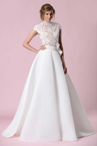 gemy-maalouf-2016-lace-high-neck-bodice-and-pleated-ball-gown-skirt
