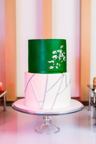 two-tier-wedding-cake-white-tier-with-silver-stick-details-emerald-green-tier-with-silver-gingko