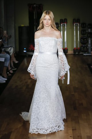 rivini-fall-2018-off-the-shoulder-lace-bell-sleeve-sheath-accented-with-satin-ties