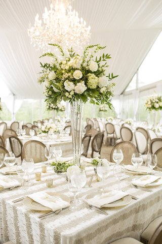 striped-linen-square-tablescape-tall-centerpiece-wedding-reception-tented-white-rustic-chic-floral