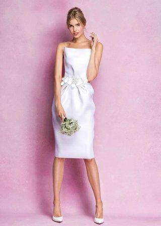 angel-sanchez-fall-2016-strapless-short-wedding-dress-with-flowers-at-waist